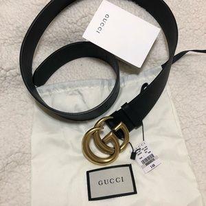 Women's Gucci double g brass gold belt